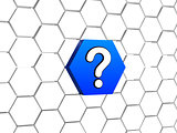 question sign in blue hexagon