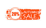 autumn sale drawn banner with 20 percentages and fall leaf