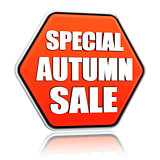 special autumn sale orange hexagon banner