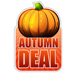 autumn deal label with fall pumpkin