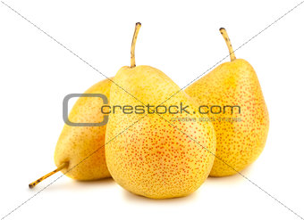 Three yellow pears on white