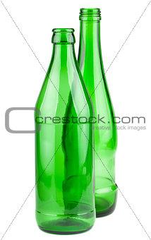 Pair of empty green bottles