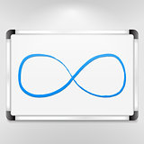 Blue infinity symbol on whiteboard