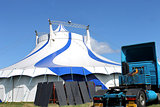 Circus tent and truck in summer
