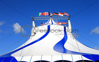 Circus tent with world flags