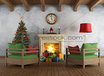 Vintage christams living room