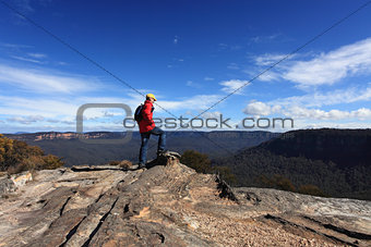 Bushwalker admiring the view from Flat Rock Wentworth Falls