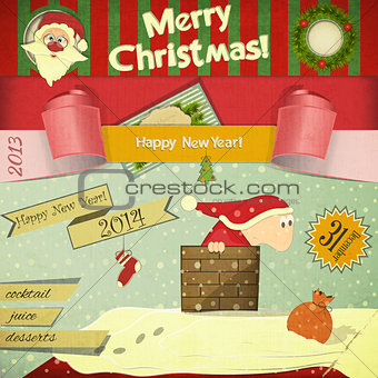 Old Christmas New Years postcard