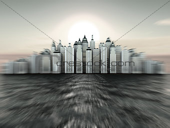 City on island. Three-dimensional background