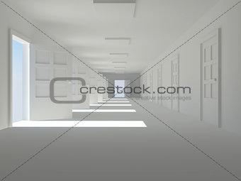 corridor with open doors
