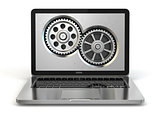 System properties concept. Laptop and gears.
