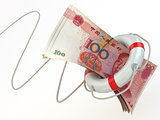 Financial aid. Life preserver and yuan.