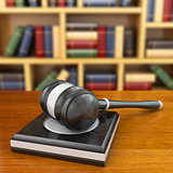 Concept of justice. Gavel and law books.