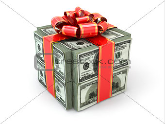 Money gift. Pack of dollars and red ribbon.