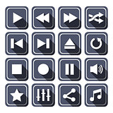 Dark Multimedia Vector Icons With Long Shadow