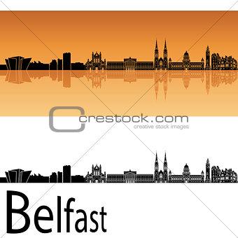 Belfast skyline in orange background