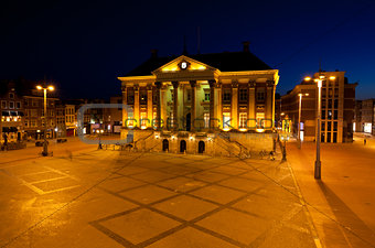 City Hall in Groningen at night