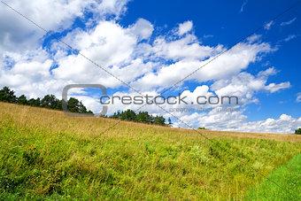 beautiful cloudscape on blue sky over green meadow