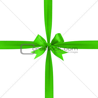 green simple tied ribbon bow composition