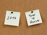 horse year reminder note on cork board