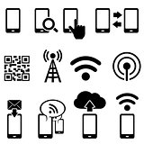 Mobile and wifi icon set