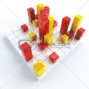 Abstract yellow and red metallic cubes on a white