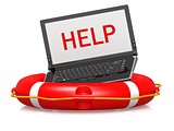 Life buoy with laptop help