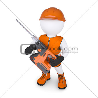 3d man holding electric perforator
