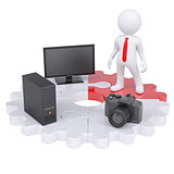 3d man and electronic devices