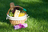 Outdoor picnic basket on green lawn