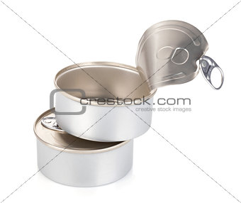 Closed and opened tin cans