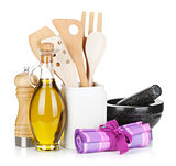 Kitchen utensils and condiments