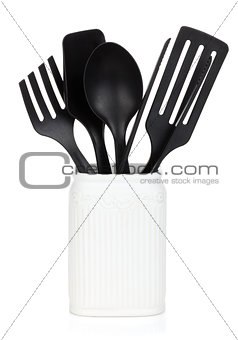 Kitchen utensils in holder