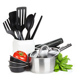 Kitchen utensils, tomato and mint leaves