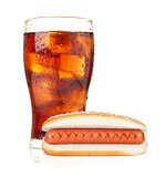 Glass of cola with ice and hot dog