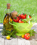Fresh ripe tomatoes, olive oil bottle, pepper shaker and basil