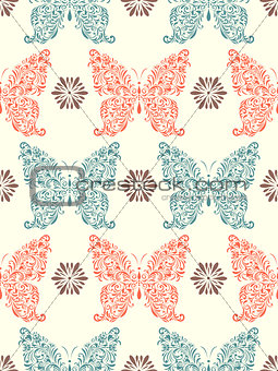 abstract floral butterflies