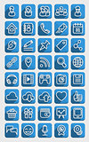 Flat Icons Social Media Blue Set