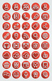 Flat Icons Social Network Round Red Set