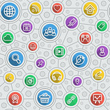 Social Networking Flat  Outline Multicolor Pattern