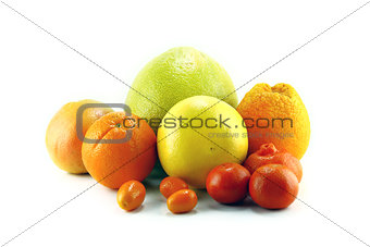 Citrus fruits isolated on white