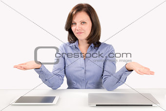 Business woman offers to make a choice