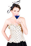 Young Woman Drinking Alcoholic Beverage
