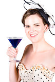 Vintage girl with a blue cocktail