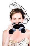 Beautiful Young Woman With Binoculars
