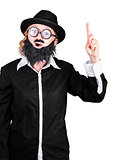 Woman With Fake Beard And Mustache Pointing Finger Up