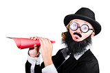 Female Dressed As A Man Holding Paper Megaphone