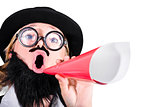 Female Dressed As A Man Shouting Through Megaphone
