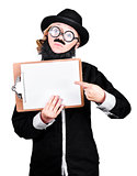 Woman With Fake Beard And Mustache Pointing On Clipboard