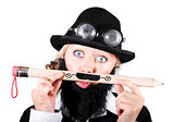Woman With Fake Beard Holding A Pencil Having Mustache